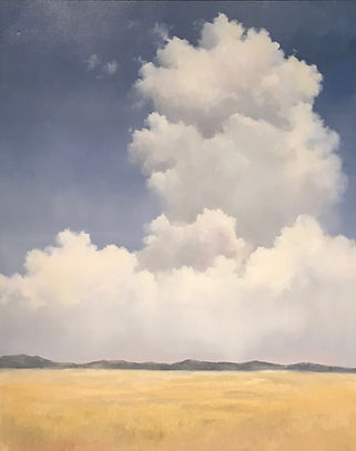 Large Cumulus Cloud rising over mountains an a field