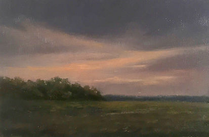 Moody sunset oil painting