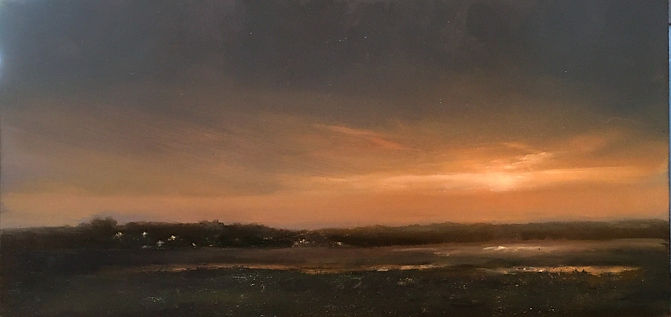 Materese Roche, Last Light over Buzzards Bay, Oil on Panel