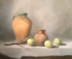 still life with terra cotta and apples