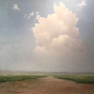 An Unknown Road;  Materese Roche, Oil Painting of large white clouds and blue sky