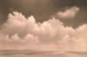 The Approach; Monochromatic oil painting of clouds,  Materese Roche, artist