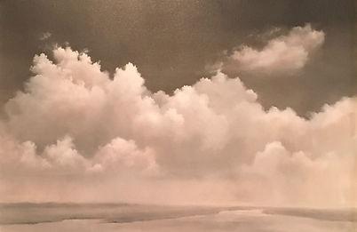 Atmospheric cloud landscape painting monochromatic