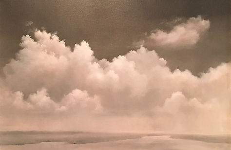 Atmospheric cloud landscape painting monochromatic