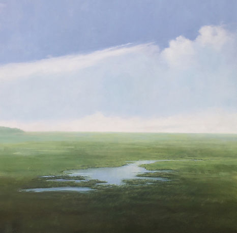 New England Marsh, watery, blue sky and white clouds