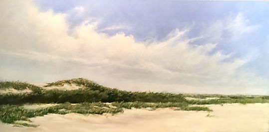Cape Cod dunes, white clouds oil painting