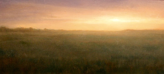 Oil painting of bright orange sunset over a field