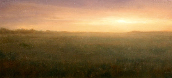 Oil painting of orange sunset over a field. blinding light landscape painting