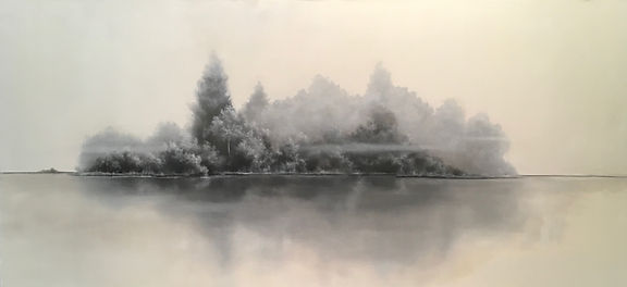 Black and white painting of trees in fog on a lake