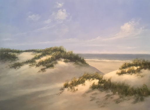 Materese Roche, Grassy New England Dunes, Oil on Panel