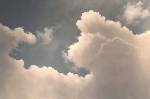 Large white clouds with blue sky, original oil painting