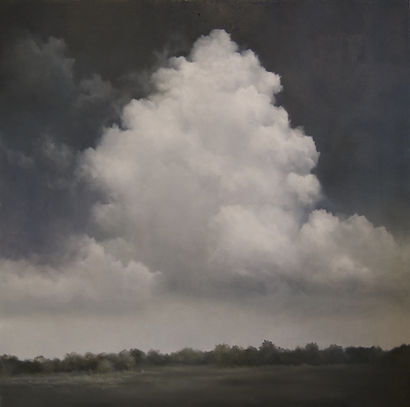 monochromatic cloud landscape oil painting