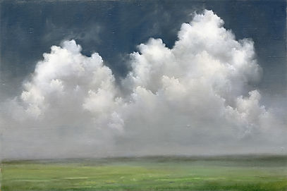 large white storm clouds oil painting