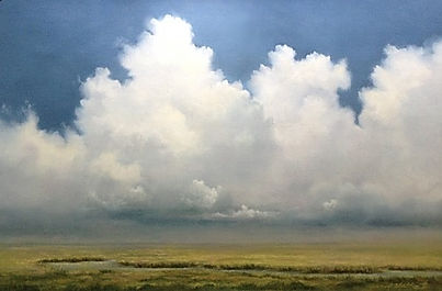 Atmospheric cloud landscape painting
