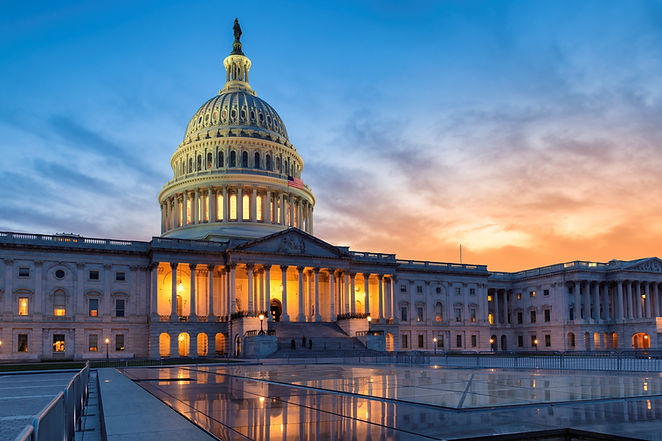 The United States Capitol building at su