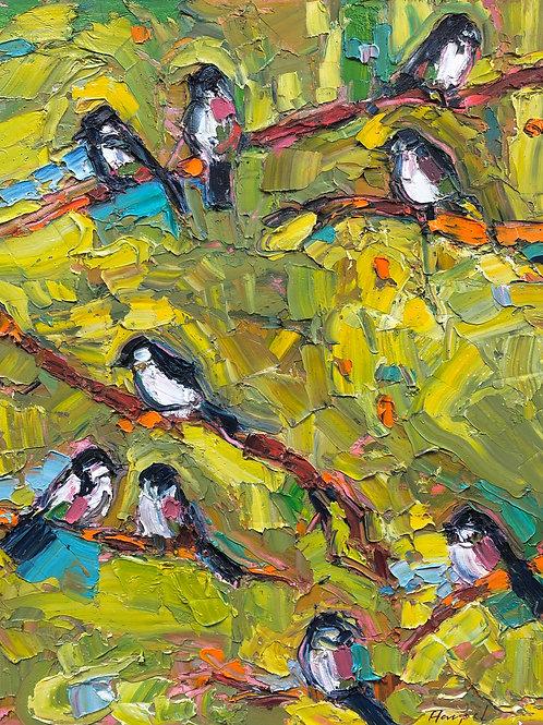 Nine Chickadees