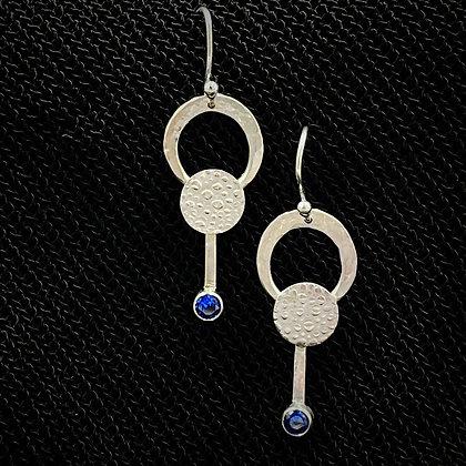 Circle drop blue earrings