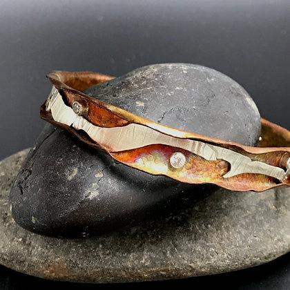 Copper & silver bangle w/CZ