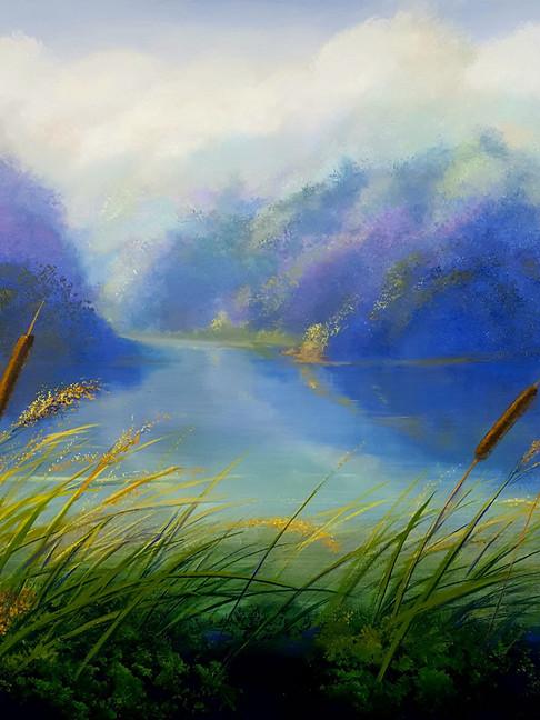 """Blue Pond"" Oil on Canvas, 36"" x 36"" 2018"