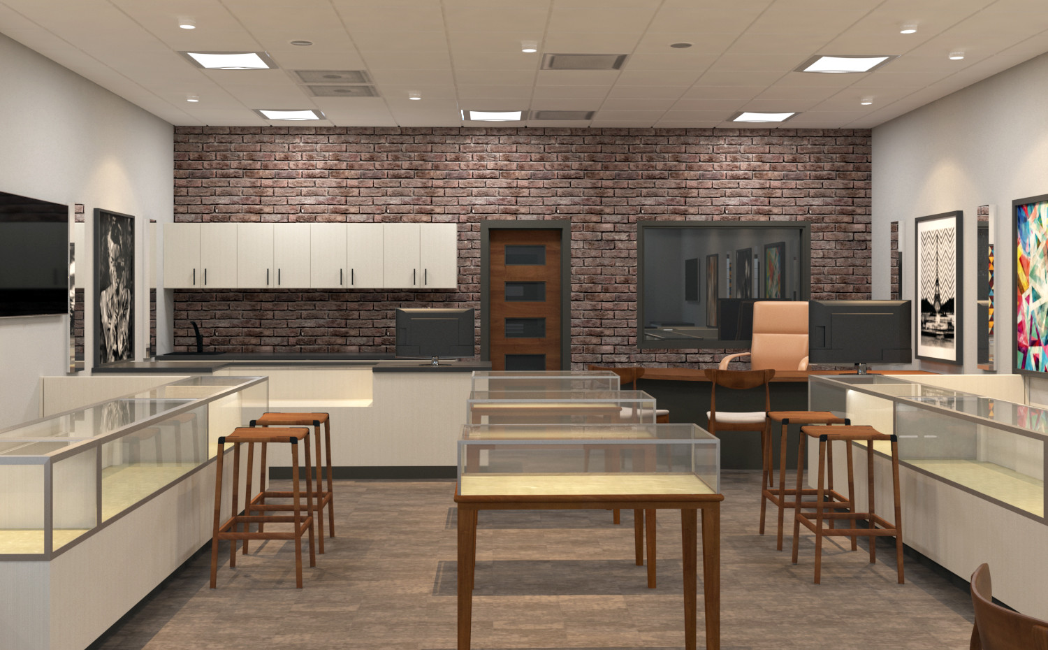jewelry store interior rendering