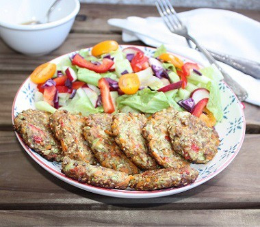 Frittelles salados de verduras con aliño alcalino rápido, y cómo el pasado te manda señales premonit