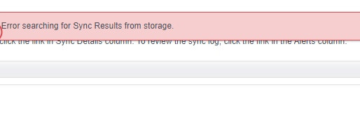 ! Error searching for Sync Results from Storage