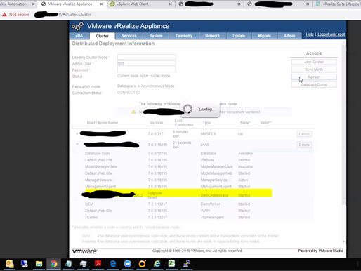 Version table below vRA cluster tab showing incorrect status
