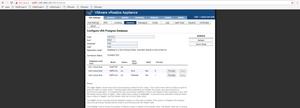 Database screen under vRA Settings from VAMI Portal
