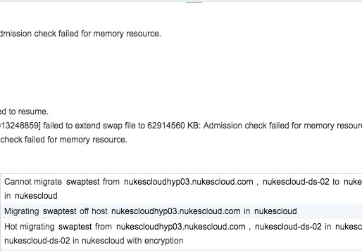 Shared swap vMotion of a fully reserved VM with swap file fails due to failure to extend swap file