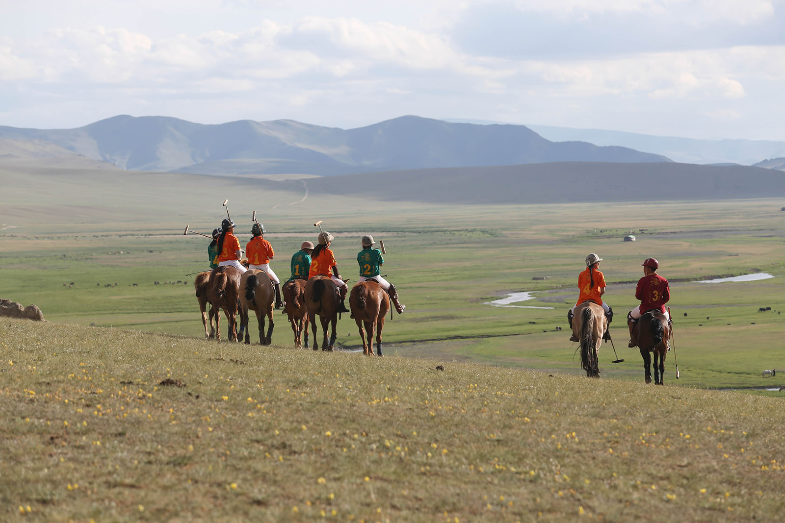 Polo players in Mongolia