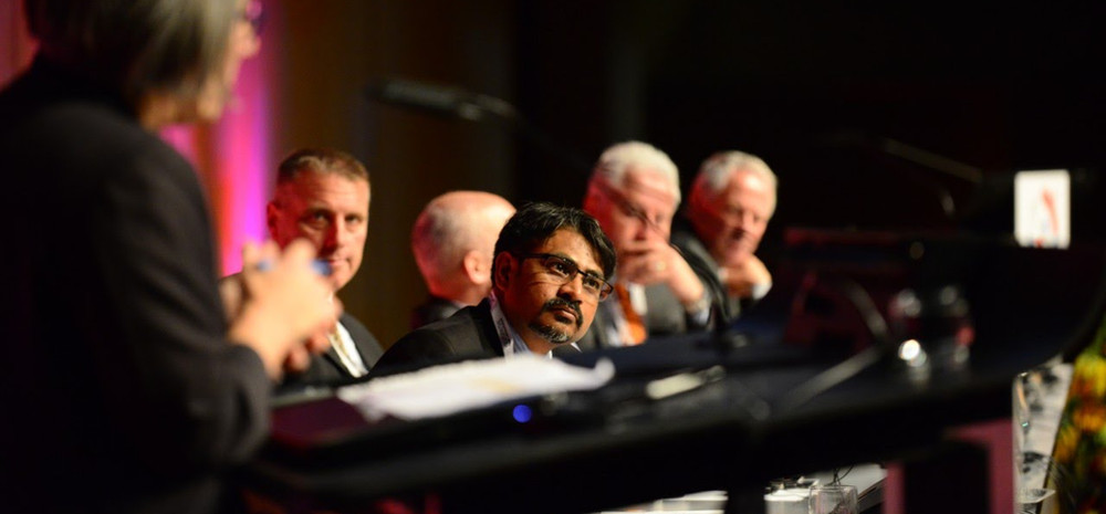 Engrossed in deep thoughts as part of a leadership panel