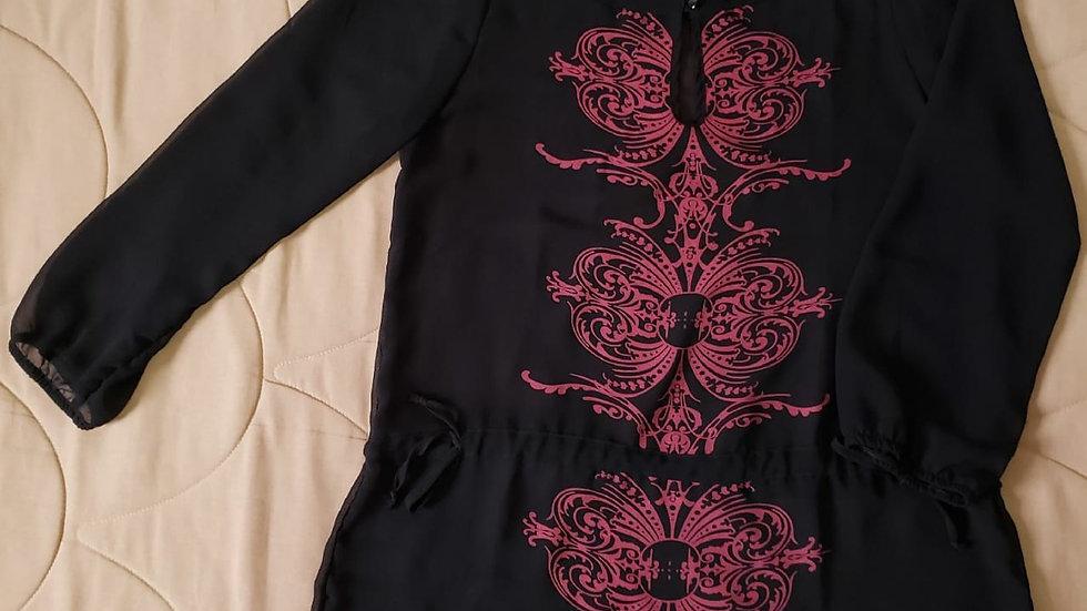 Blusa preta e rosa (R033)