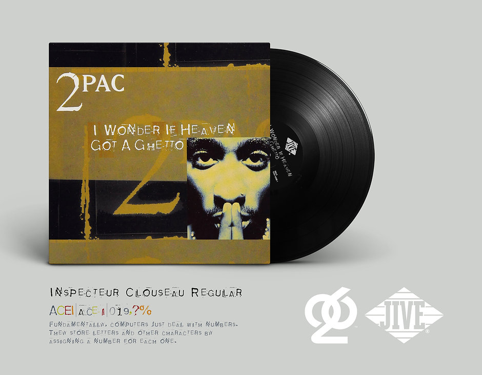 2Pac record cover & bespoke alphabet design / JIVE Records x T-26 Type Foundry, Chicago