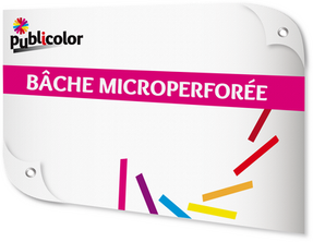 Impression sur Bâche Microperforée M1 - Publicolor – Ses micro-perforations lui permettent de diminuer la prise au vent tout en laissant passer la lumière. Elle est classée au feu M1.