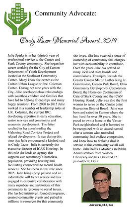 Community Advocate Cindy Lazor Memorial Award 2019