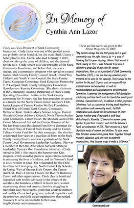 In Memory of Cynthia Ann Lazor Award