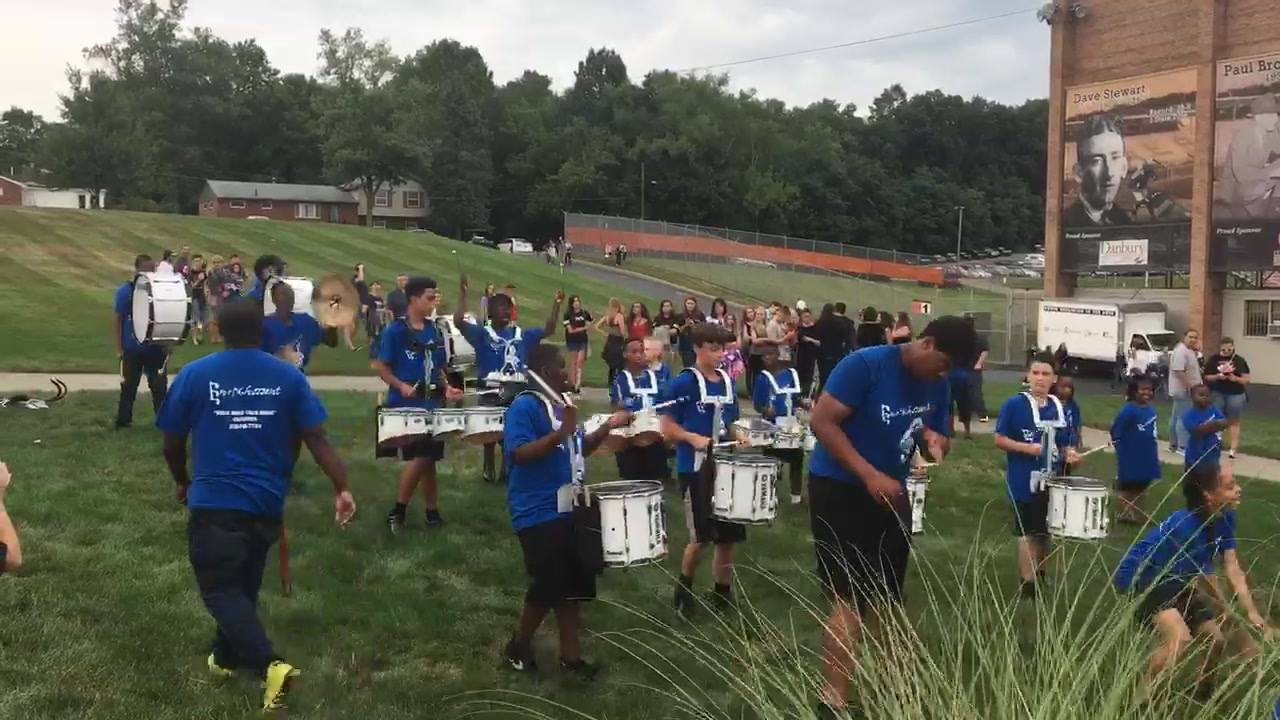 Drum line performance at the DCI show in Massillon this summer.