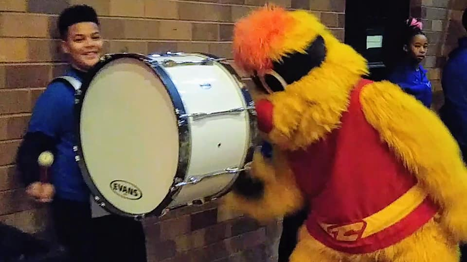 drumline and charge mascot