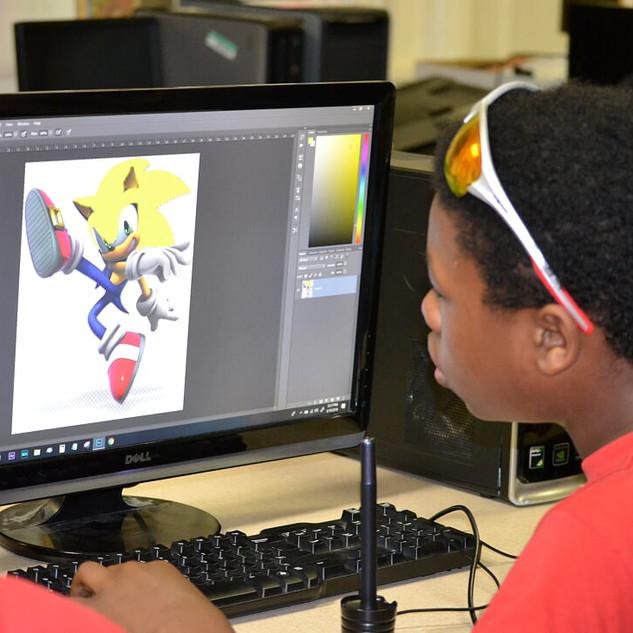Graphic Design Student editing Super Son