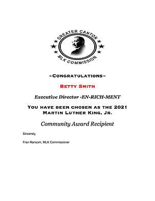 EN-RICH-MENT 2021 Martin Luther King Jr. Community Award Recipient