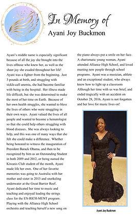 In memory of Ayani Joy Buckmoon Award