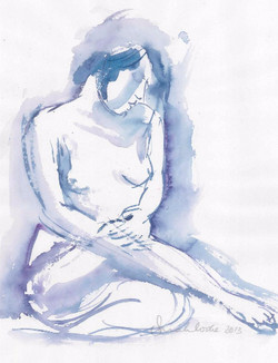 Blue woman sitting
