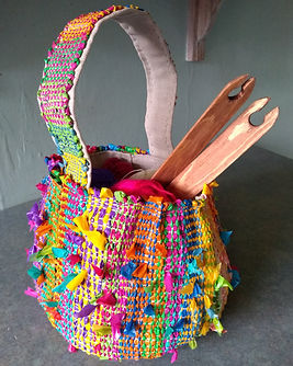 Basket made from plastic bags. It is lin