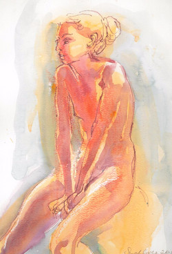 woman sitting pink and grey