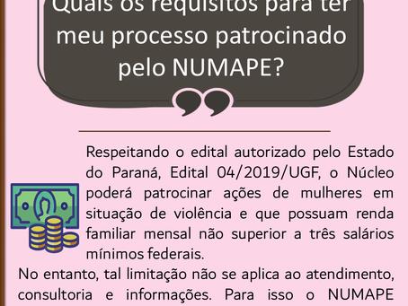 Quais os requisitos para ter meu processo patrocinado pelo NUMAPE?