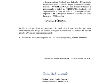 EDITAL 19/2020 - TRANSFERÊNCIA DE DATA DA PROVA ESCRITA DE SELEÇÃO DE BOLSISTA ADVOGADO/A