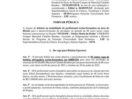 Processo Seletivo para Bolsista Advogado(a) - Edital nº 15/2020