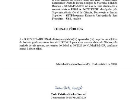 Resultado Final do Processo Seletivo - Edital n. 13/2020