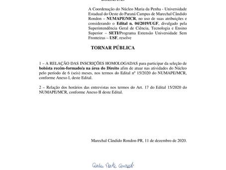 Edital 17/2020 - Homologação das Inscrições do Processo Seletivo para Bolsista Advogado/a
