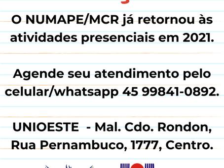 NUMAPE/MCR já retornou às atividades presenciais em 2021. Agende seu atendimento.